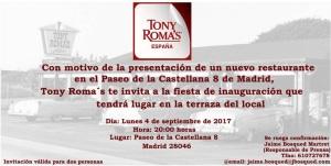Tony Roma´s te invita a la inauguración de su nuevo restaurante en Madrid  Lunes 4 septiembre 2017